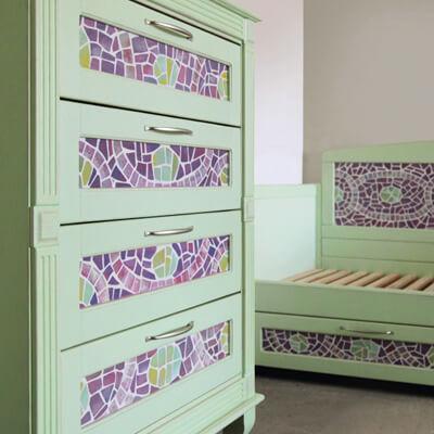 Роспись мебели с имитацией мозаики