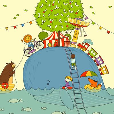 Рисунок на гипсокартоне для детского центра