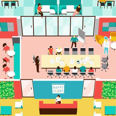 Иллюстрированная концепция идеального офиса
