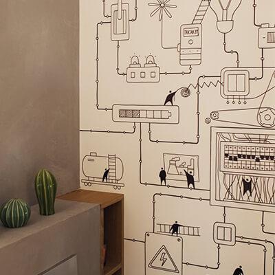 Роспись стен в шоуруме